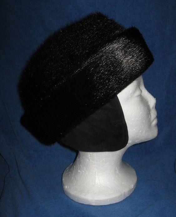 Vintage Dyed Norwegian Seal Fur USHANKA Black Hat Made In Sweden New never worn #RussianUshankaCossack