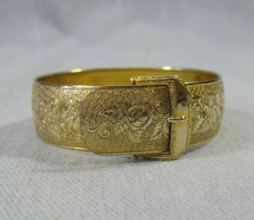 Vintage Hayward Gold Filled Victorian Engraved Floral Buckle Bangle Bracelet