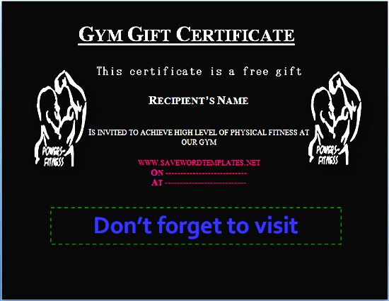 Gym Gift Certificate Gift Certificate Templates – Fitness Gift Certificate Template