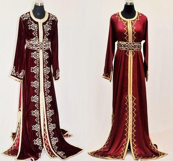 Burgundi bordeaux royal mariage maxi robe caftan marocain for Robe maxi bordeaux pour mariage