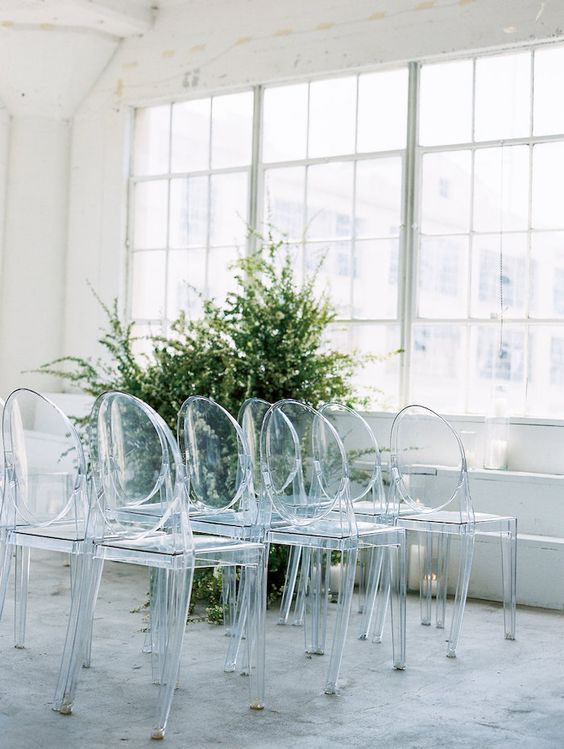 clean white modern ceremony design, ghost chairs modern budget backyard wedding ceremony decorations