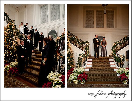 the Henderson House stairway--here it is decorated for a winter wedding