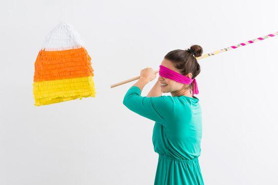 DIY This Candy Corn-Filled Candy Corn Piñata via Brit + Co.