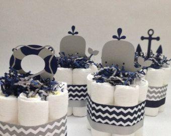 FOUR Nautical Mini Diaper Cakes for Baby by MrsHeckelDiaperCakes