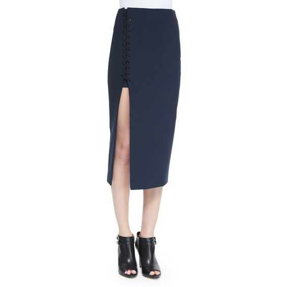 Elizabeth and James Kennedi Lace-Up Midi Skirt ($365) ❤ liked on Polyvore featuring skirts, new navy, mid-calf skirt, stretchy skirts, blue sequin skirt, sequin skirt and navy blue midi skirt