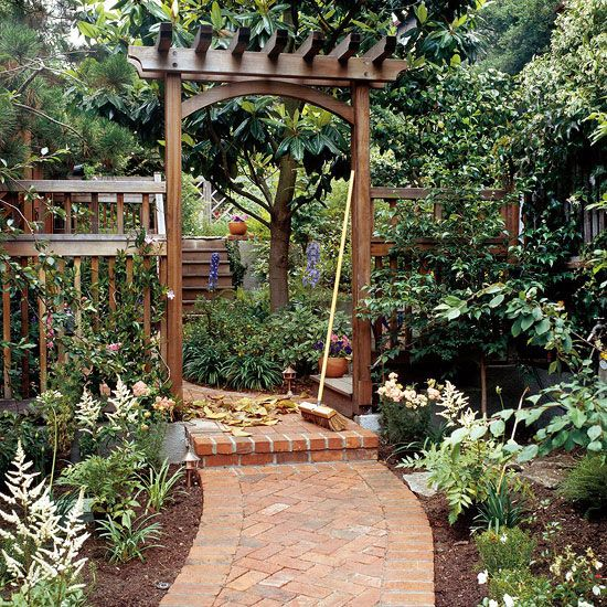 Build a traditional entry arbor gardens backyards and for Entryway garden designs