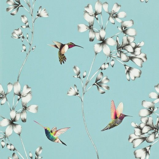 Amazilia (111060) - Harlequin Wallpapers - A beautiful design of etched trailing flowers with vivid coloured amazilia hummingbirds. Shown here in sky blue, grey and pretty multicoloured birds. Other colour ways available. Paste the wall product. Wide width roll. Please request a sample for true colour match.