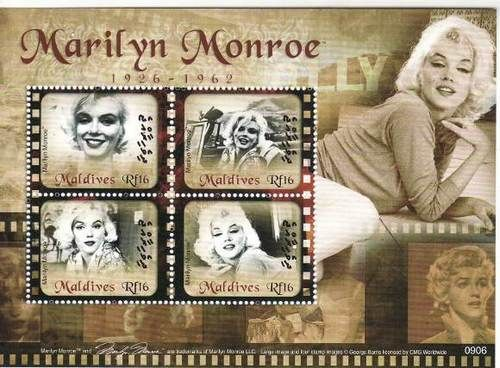 A 2009 stamp sheet issued by the Maldive Islands honoring Marilyn Monroe.