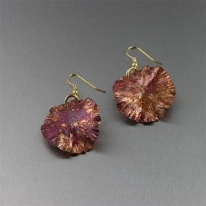 Copper Lily Pad Earring with Red Patina