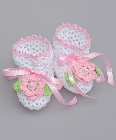 White & Pink Flower Crochet baby Booties #zulilyfinds