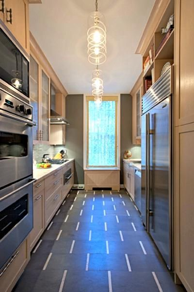 Galley Kitchen By Sophie Harrison A Double Oven Overhead Microwave French Door Style