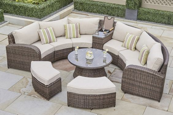 ARC 11 - Half Moon Rattan Sofa Set with Coffee Table Gas Fire Pit