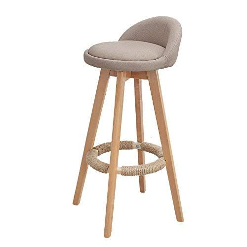 Yzh Nordic Personality Bar Chair Chairs Stools Solid Wood Bar Reception High Chair High End Atmosphere Chair Stool 01 Beige Bar Stools