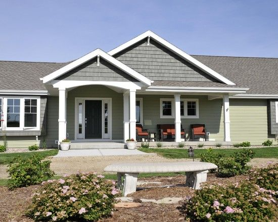 Ranch home designs ranch homes and porches on pinterest for Ranch house exterior design ideas