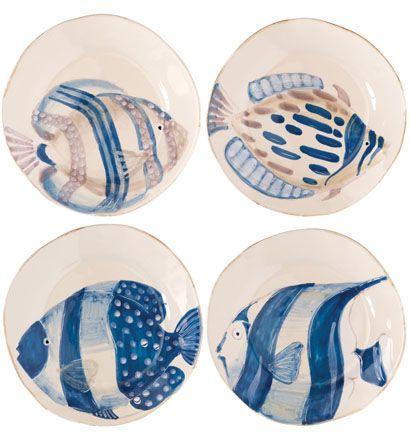 VIETRI Adriatic Assorted Fish Salad Plates: