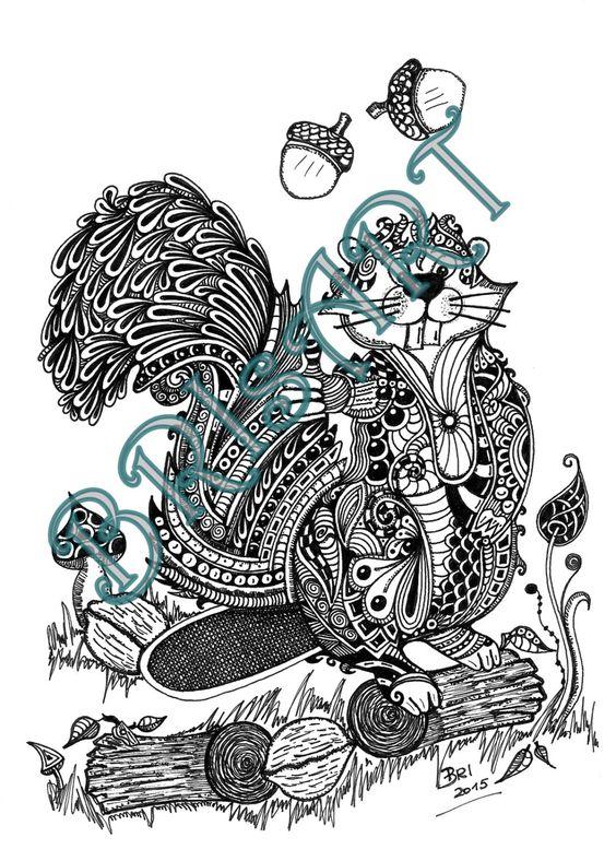 """Malvorlage Zentangle ZENZIA """"Biberhoernchen"""" handmade by BRIgitte Ibitoye, Ausmalbilder, colouring, Adult, Doodles, von BRIsaRt13 auf Etsy"""