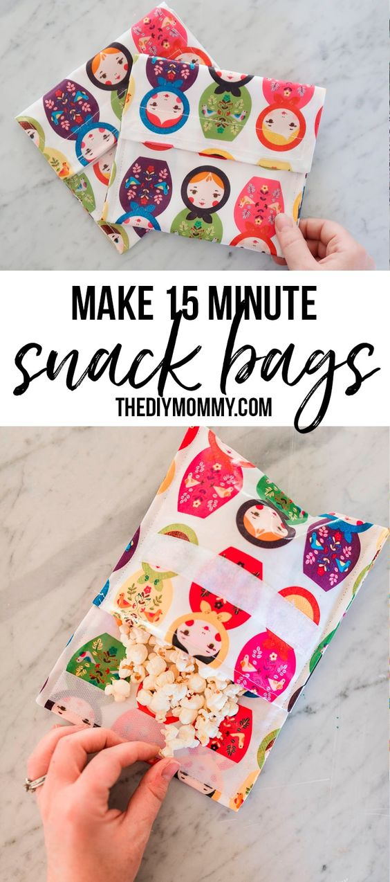 How to sew reusable fabric snack bags in 15 minutes. It's so easy!