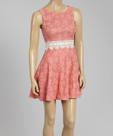 Another great find on #zulily! Coral Floral Jacquard Fit & Flare Dress #zulilyfinds