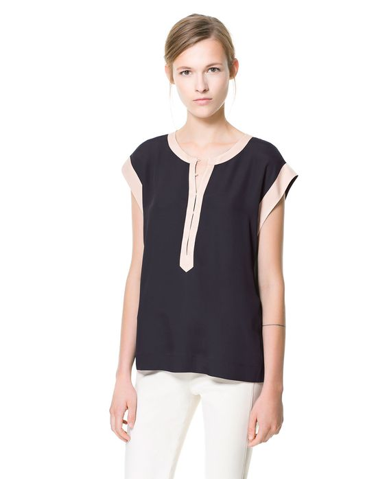 ZARA - WOMAN - TOP WITH CONTRASTING BORDER