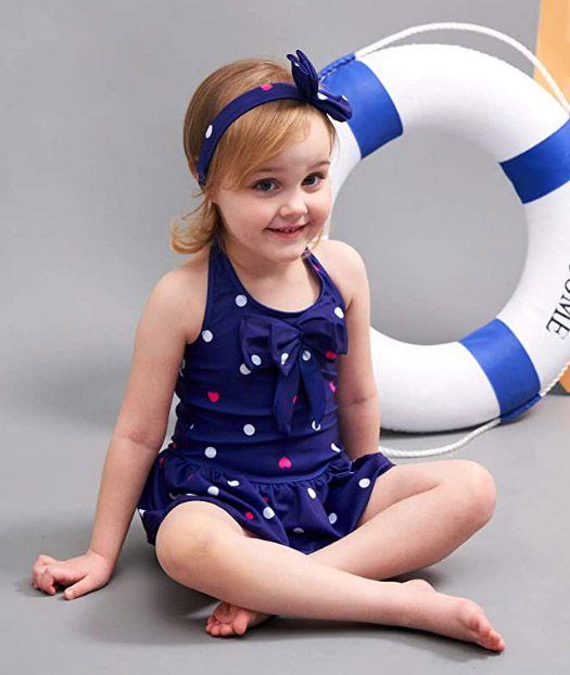 Baby Girls Swimwear One Piece Swimsuits Beach Wear with Headband Tankini Swimwear Meisiqw