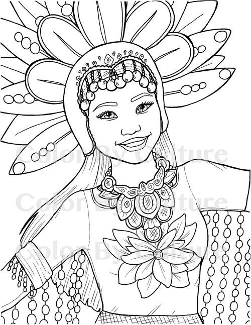 Filipina Girl Coloring Page Coloring Pages For Girls Coloring