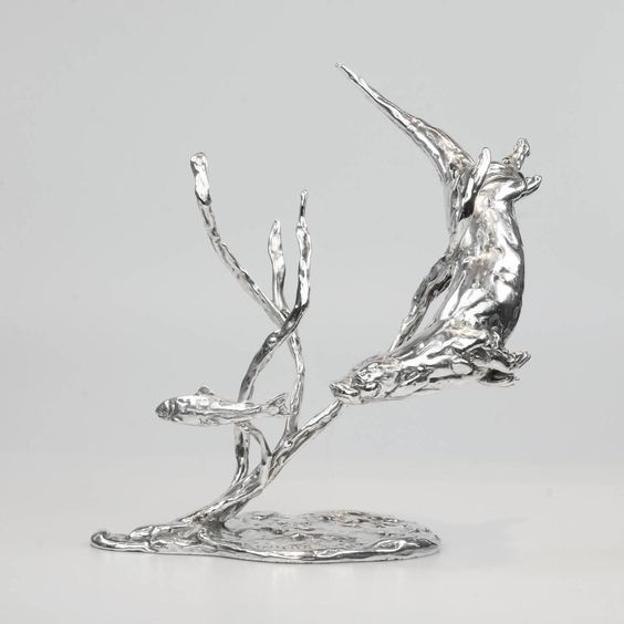 Lucy Kinsella - 'Otter Chasing Trout' Sterling Silver Sculpture By Lucy Kinsella