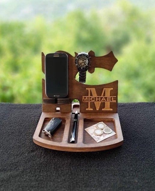 Personalized Docking Station Wood Organizer Nightstand Valet Boyfriend Gift Docking Station Anniversary Gifts Birthday Gift for Husband