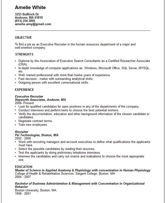 Case Manager Resume Objective Executive Recruiter Template  Work Resume Objective