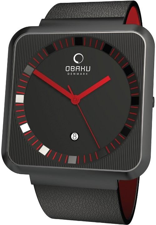 Special Offers Available Click Image Above: Obaku Harmony Mens Ultra Slim Stainless Watch - Black Leather Strap - Black Dial - V139gbbrb