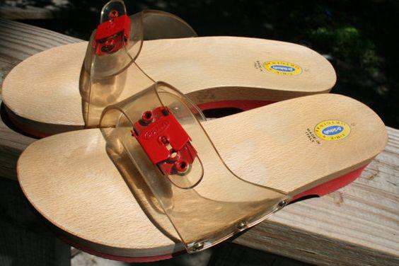 Vintage Dr. Scholl's Slides, Clear top, Red Bottom $25