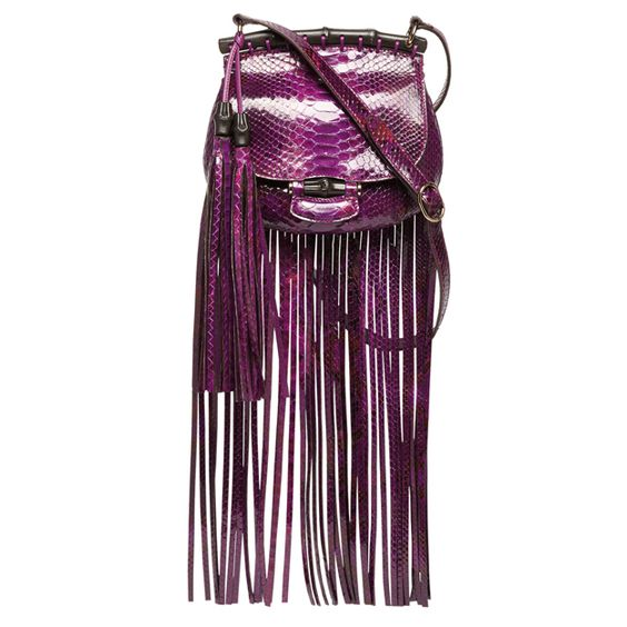 DIAL M FOR MAGNIFICENT BAGS | GUCCI - Small shoulder bag in berries colour python with tassels, fringes and bamboo details