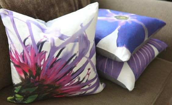 Cool blue and purple botanical print pillows