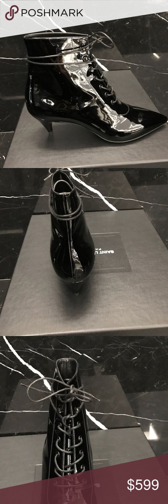 """Brand New YSL Cat 50 Boots Brand New YSL Patent Leather Cat 50 Boots.  Kitten Heel Lace up. 2"""" Heel. Style 351930. Made in Italy. Comes with box and dustbag. Ships out same day or next day depending in time of purchase. Yves Saint Laurent Shoes Ankle Boots & Booties"""