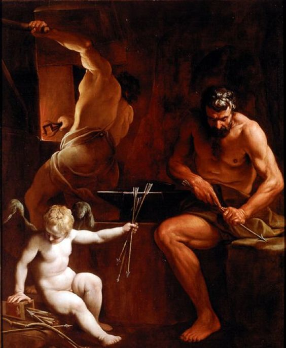 Vulcan Forging Arrows for Cupid, by Alessandro Tiarini (~1620-25)