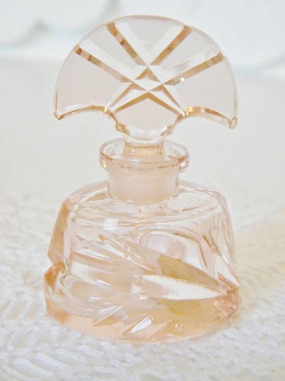 Vintage Pink Czech Crystal Mini Perfume Bottle