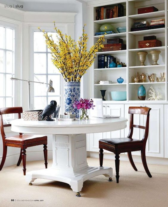 Breakfast nook... #round #table #chairs #dining #bookshelf #flowers #living #apartment #studio #home