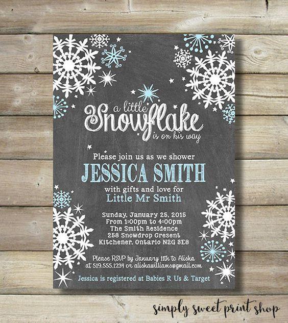 Winter Wonderland Boy Baby Shower Invite Invitation Blue White ...