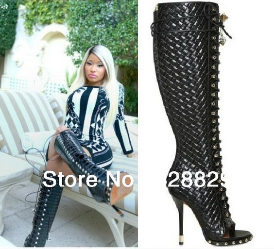 Hot Selling Newest Women Sexy Peep Toe Gladiator Lace-up Knee High ...