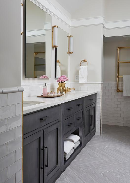 Black Dual Washstand With White Glazed Backsplash Tiles Topped