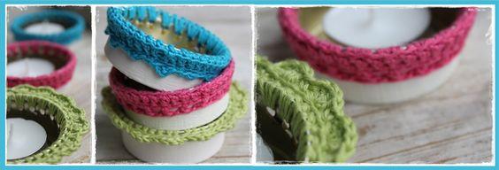 Crocheted Tealight Holders from Recycled Tin Cans.•°•° DIY Idee Waxinelicht Houders van Hergebruikte Leverpastei bakjes Unox/ Aldi...met gehaakte Randjes.InHaken: Hergebruik