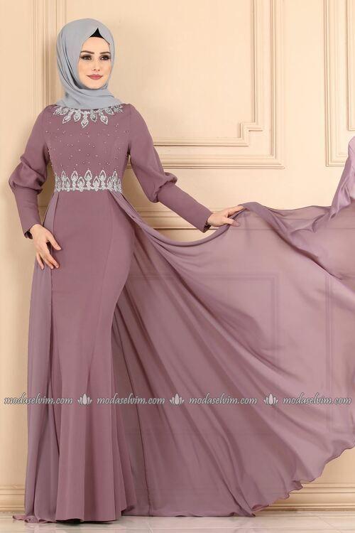 Modaselvim Abiye Tas Ve Incili Pelerinli Abiye 9018w153 Lila Dresses Fashion Pakistani Fashion