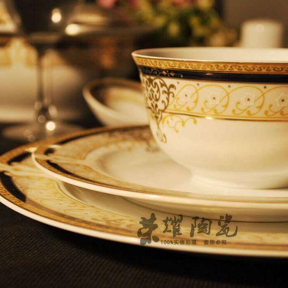 56 osso jogo de jantar porcelana pratos pratos de porcelana ouro Dinnerwares conjuntos para 10 pessoas