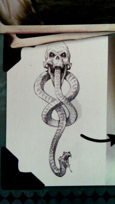 Variant to the Dark mark tattoo. I like the style, Left forearm.