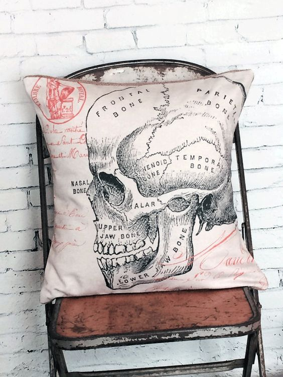 Awesome old vintage skull illustration makes this the perfect way to decorate for Halloween! See coordinating spider pillow cover in the last