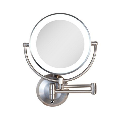 Zadro Cordless Dual Led Lighted Round Wall Mount Mirror With 1x 5x Magnification And 5 Minute Auto Off Timer In Wall Mounted Mirror Mirror Mirror Wall Clock