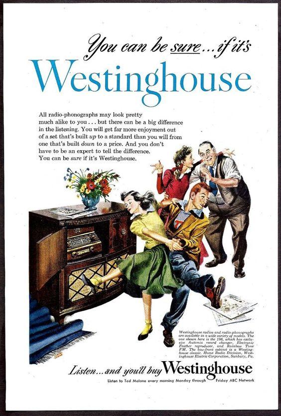 1948 WESTINGHOUSE 186 Console Radio Phonograph AD Teens dance jitterbug