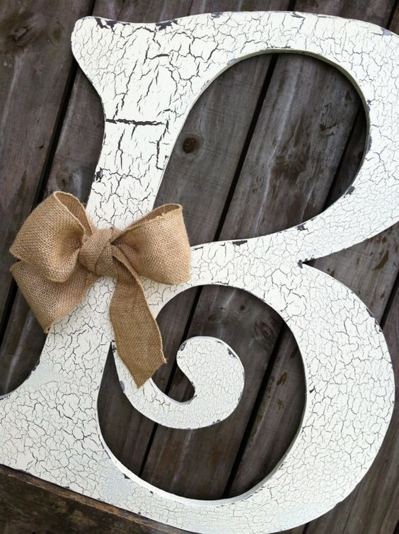 Wooden Letter Decoration Put Different Ribbon Some