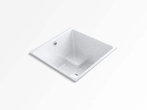"KOHLER K-1968-0 Underscore 48"" x 48"" cube drop-in bath with center drain - White"