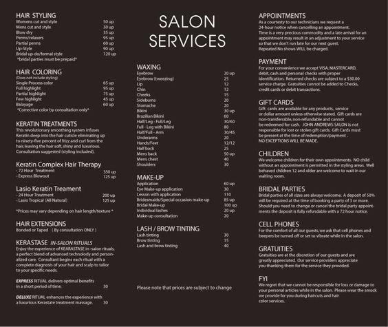 JOHN ANDREWS SALON - Services