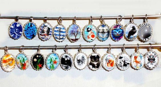 Anhänger Halskette Modeschmuck Glas Cabochon Damen ohne Stein handgefertigt